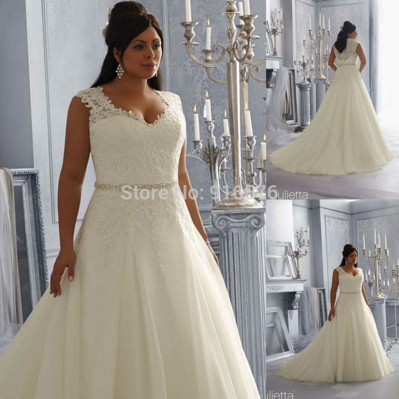 Plus Size Bead Band A Line Alluring Tulle Lace Applique Wedding Gown