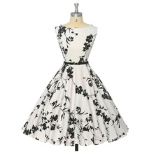 Women Summer Dress 2016 plus size clothing Audrey hepburn Floral robe Retro Swing Casual 50s Vintage Rockabilly Dresses Vestidos