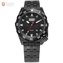 SHARK ARMY Black Full Steel 100m Water Resistance Luminous Auto Date Quartz Sport Outdoor Gift Box