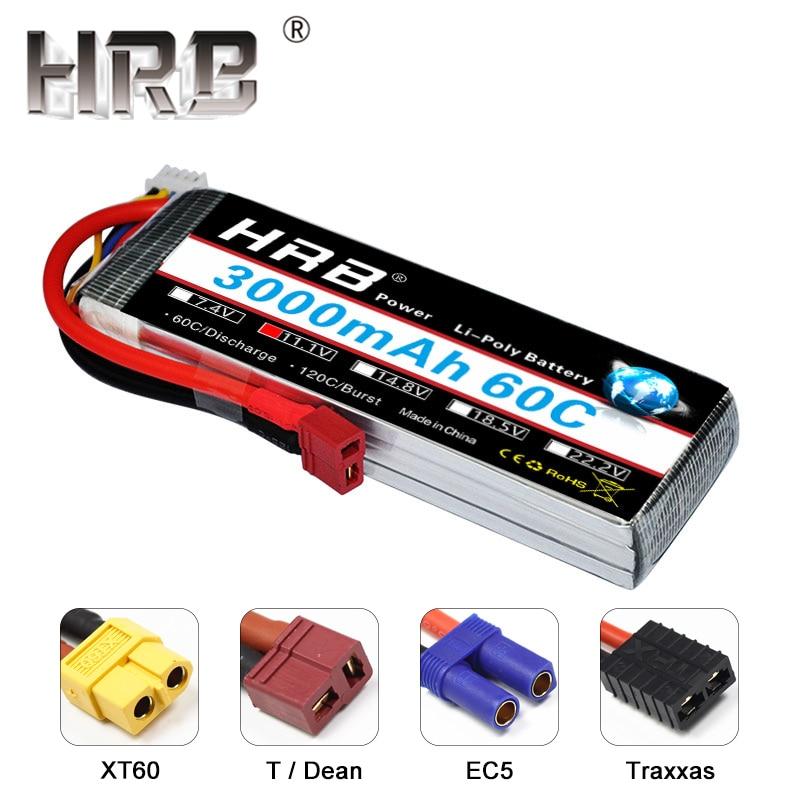 HRB RC 3000mAh Липо батерия 11.1V 3S 60C XT60 EC5 Traxxas T Дин конектори RC части за хеликоптер самолет Quadcopter играчка