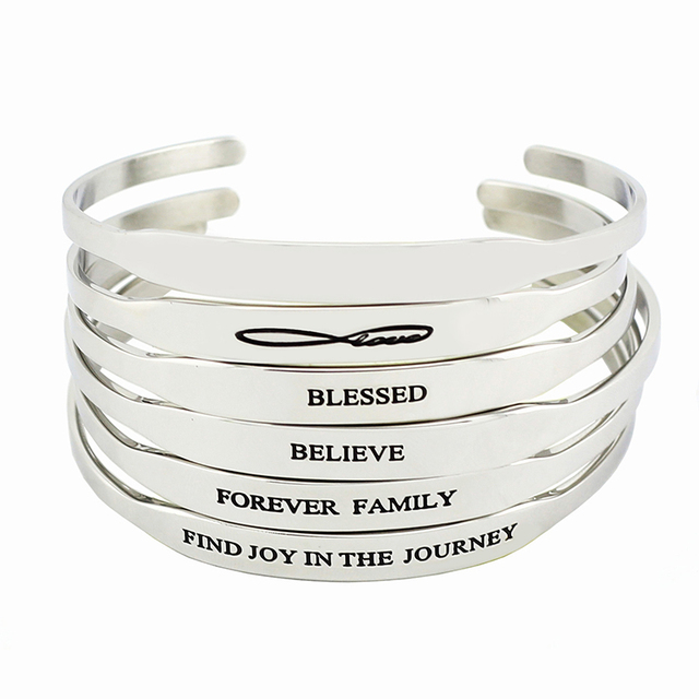 Hot 316l Stainless Steel Inspirational Quote Bracelets Women Men S Mantra Jewelry Gift Letter Bangle Arm Cuff