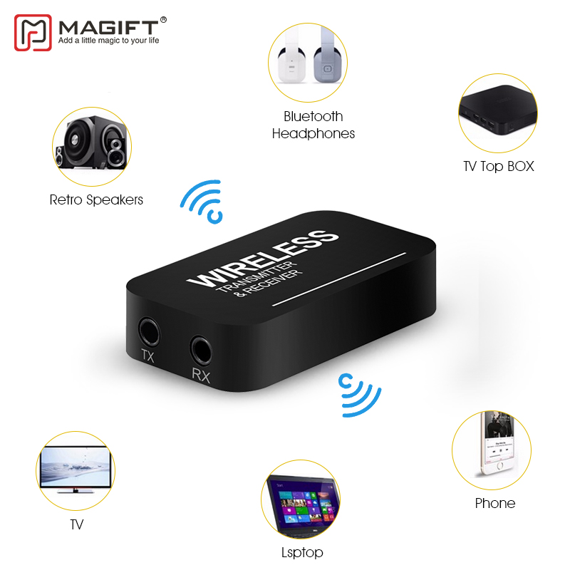 Magift Wireless Bluetooth Transmitter Receiver Mini 3.5mm Audio Cable 2in1 for iPod TV Mp3 Mp4 PC Speaker Stereo Dongle Adapter byl 918 bluetooth v2 1 stereo receiver for 3 5mm speaker mp3 mp4 amplifier black blue