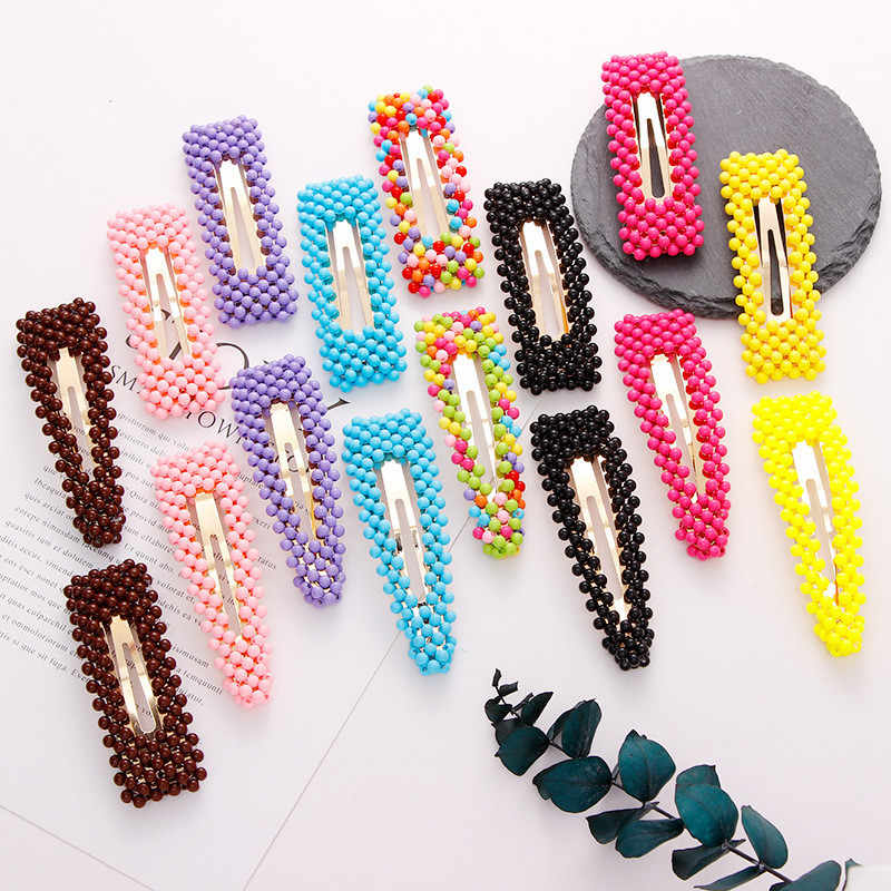 1 Pcs Full Beads Snap Hair Clips Solid Color Waterdrop Rectangle Women Girls Hairpins Headwear Hair Styling Tool 7.5/9cm