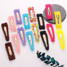 1 Pcs Full Beads Snap Hair Clips Solid Color Waterdrop Rectangle Women Girls Hairpins Headwear Styling Tool 7.5/9cm