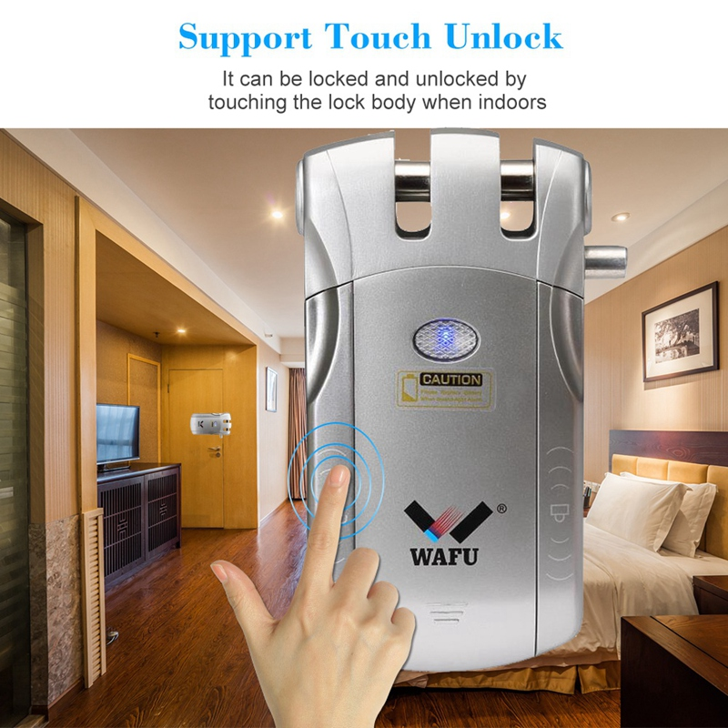 Wafu Wf-010 Wireless Electronic Door Lock Keyless Invisible Intelligent Lock With Press Locked&Unlock Button 4 Remote Control