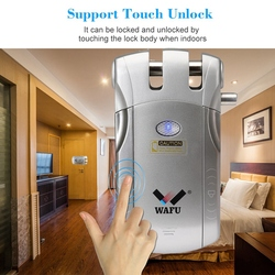 Wafu Wf 010 bezprzewodowy elektroniczny zamek do drzwi bezkluczykowy niewidoczny inteligentny zamek z przyciskiem blokady i odblokowania 4 pilot zdalnego sterowania|Zamki elektryczne|Bezpieczeństwo i ochrona -