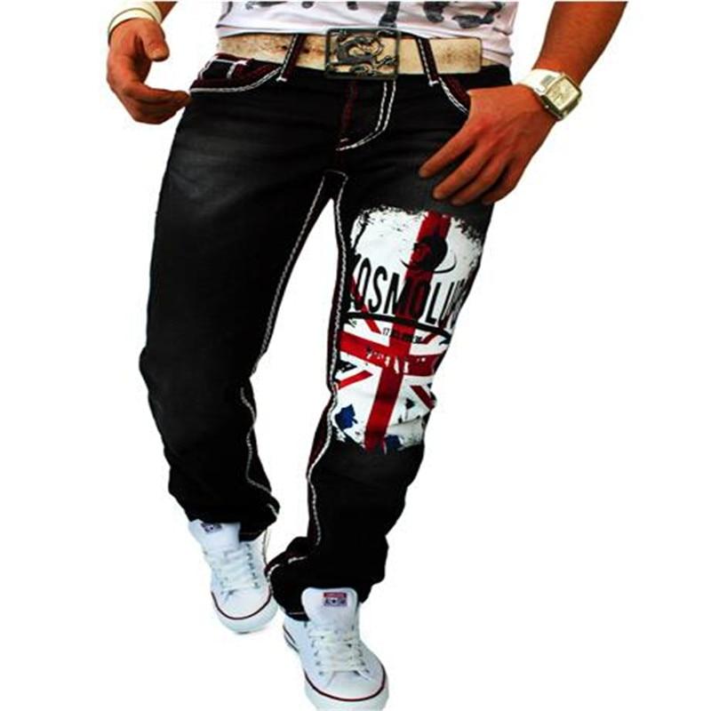 ФОТО MEBOSYA Men's British Flag Printed Black Jeans 2016 White 3D Printed Jeans Sportwear Man Cotton Skinny Jeans For Men Denim Pants