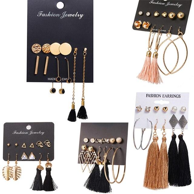 NẾU BẠN Tăng Vàng Màu Dài Tassel Stud Earrings Set Thời Trang Vòng Không Thường Xuyên Thép Không Gỉ Bông Tai Cho Phụ Nữ Trang Sức Quà Tặng