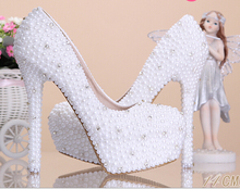 White WOMEN PUMPS high-heeled single shoes handmade pearl rhinestone wedding shoes high platform shoes
