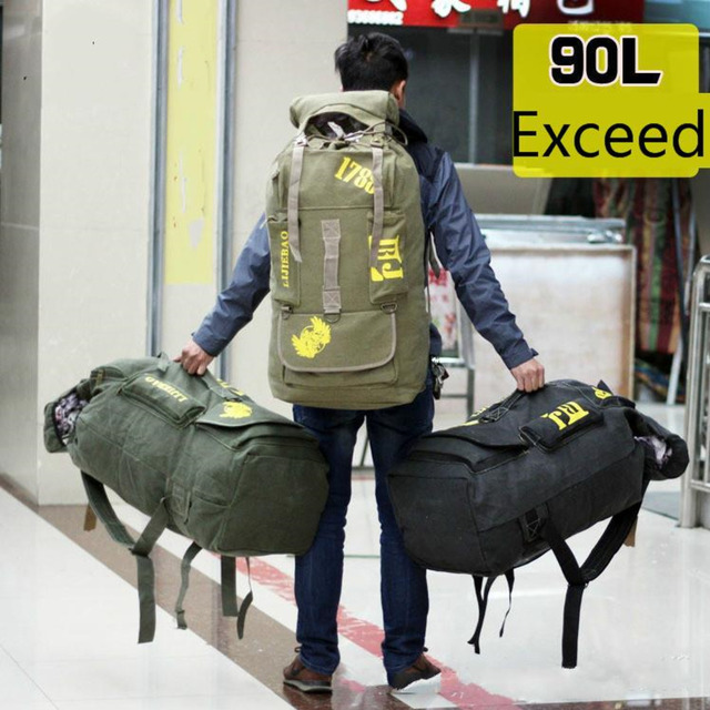90l men large capacity Canvas Outdoors Shoulders bagpack Leisure Travel Super Mountaineering Camp Backpack Male Luggage tote Bag