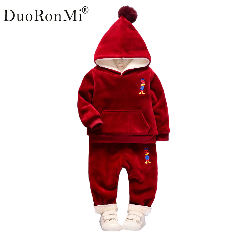 Baby Girls Clothing Set Children Cartoon Plus velvet Thicken 2pcs Winter Clothes Set Kids Sports Suit Toddler Warm Tracksuit girls clothing set winter children cardigan suit baby boys cartoon sweater warm clothes kids plus velvet tracksuit leisure wear