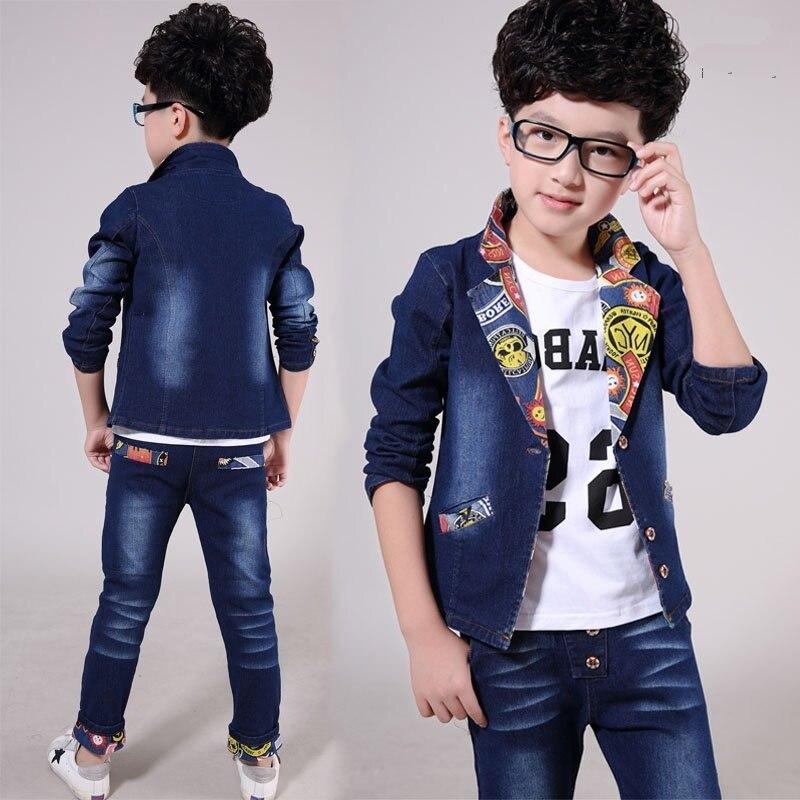 Spring kids clothes sets boys jacket + jeans pants suit clothing set kids boy sport suits 4-13y boy clothes children clothing spring outfits for kids