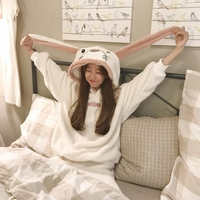JINUO Warm Autumn Winter Pajamas Set Rabbit Long ears Women Pajamas Pant Sleepwear Hooded Nightgown printed sleepwear One Size