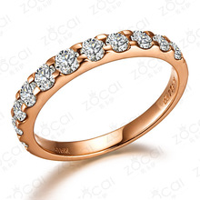 ZOCAI NATURAL 0.55 CT CERTIFIED SI / H ROUND CUT 18K ROSE GOLD DIAMOND  SEMI-ETERNITY WEDDING BAND RING W02411