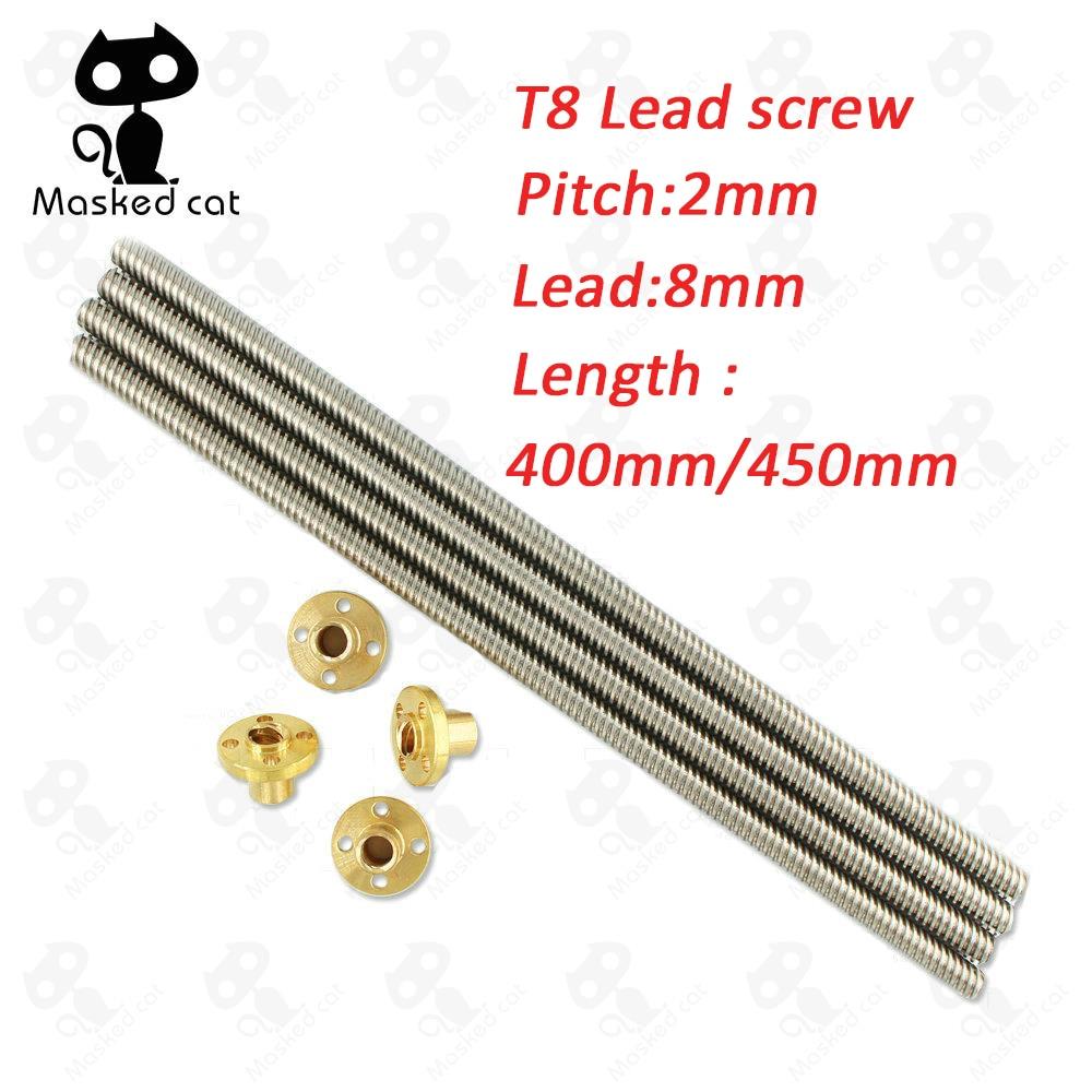 3D Printer parts T8 screw 8mm Lead Screw 400/450mm with Brass Nut 4 Start Z Axis Linear Rail Shaft 3D Printer Parts Accessories jv33 keyboard pcb assy printer parts