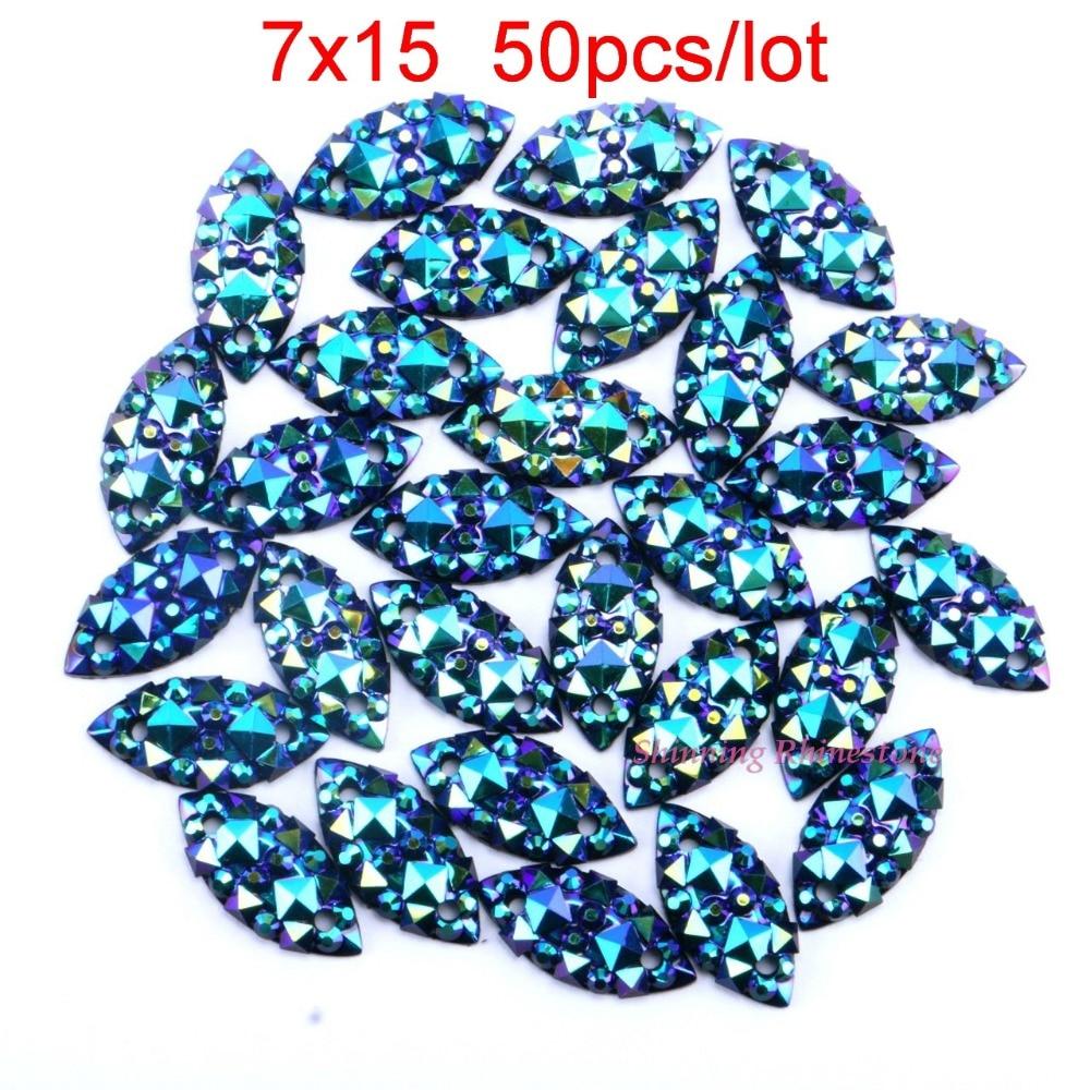 Шитья стразы лошадь глаз/листьев реактивный ав пришить кристаллы смолы два отверстия гематит diy одежды ювелирных камней 7 x 15 мм блестящий