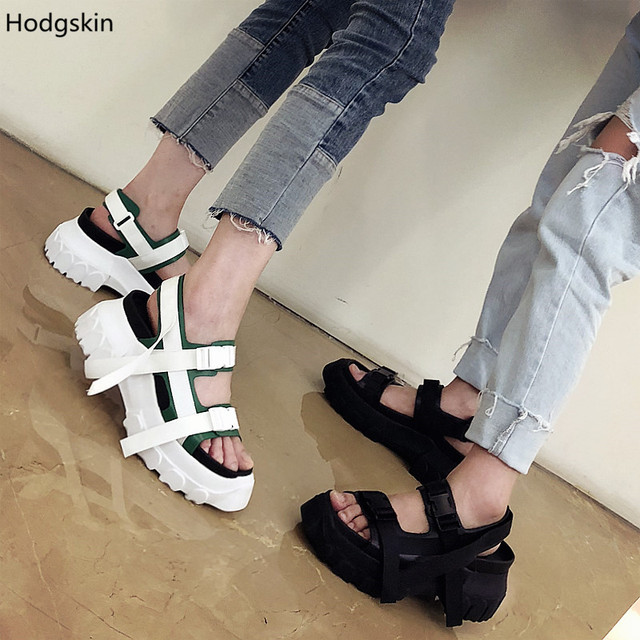f1baa93f6bdd Sandalias Mujer 2018 New Street Fashion Black White Platform Gladiator  Sandals Women High Heels Double Buckles Shoes Woman