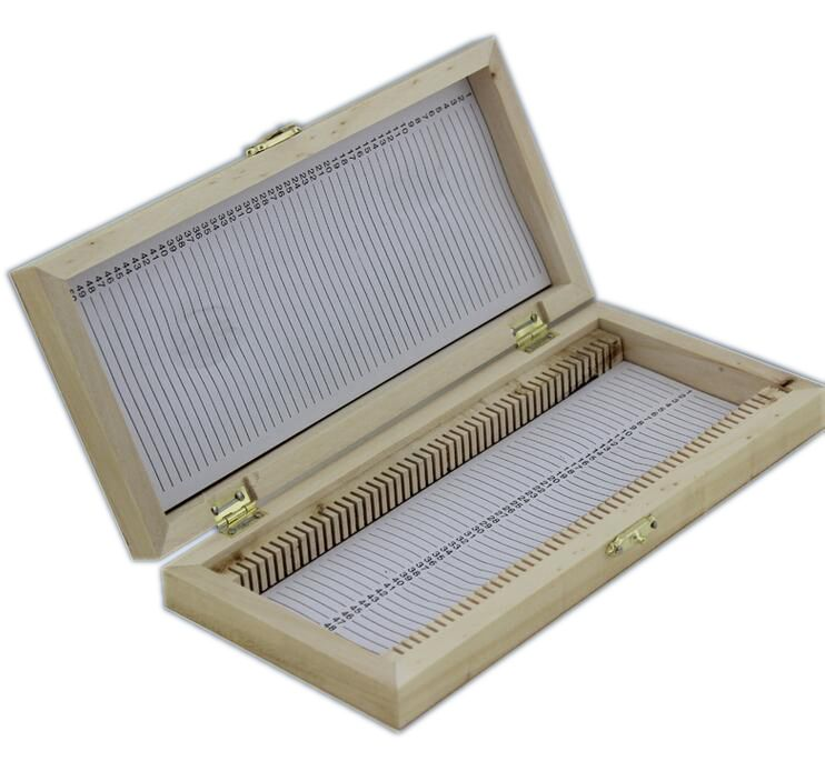 Professional Microscope Slides Box Case Wooden Container Storage Holder for 50 PCS Microscope Slides