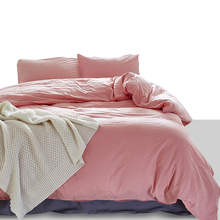 American Style 100% Pure Cotton Duvet Cover Pillowcase Set US Twin Queen King Size Solid Color Washable Quality Bedding Set