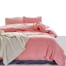 American Style 100% czysta bawełniana poszewka na kołdrę zestaw poszewek na poduszki US Twin Queen duży rozmiar Solid Color zmywalny pościel dobrej jakości zestaw