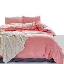 Estilo americano 100% algodão puro capa de edredão fronha definir eua gêmeo rainha rei tamanho cor sólida lavável qualidade conjunto cama