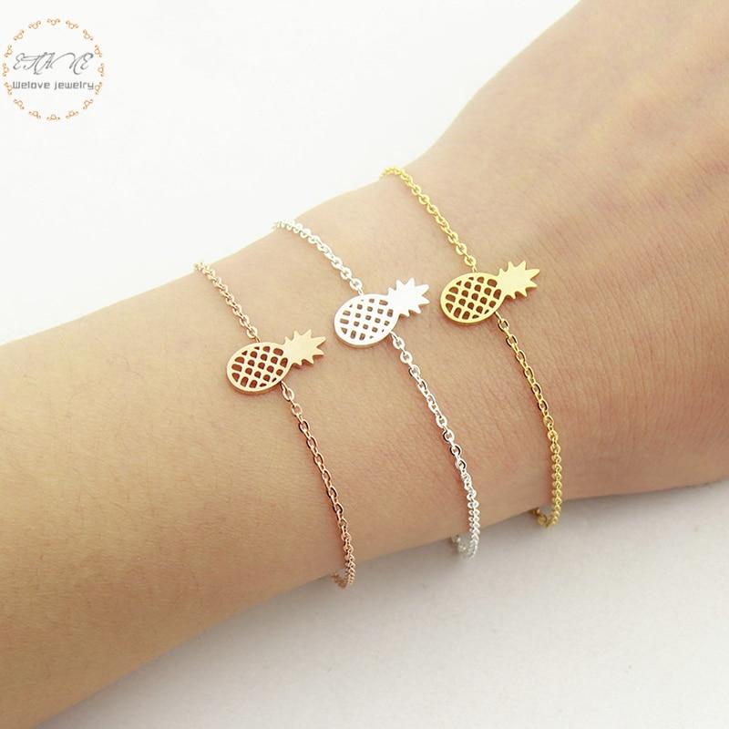 Rose Gold Charm Βραχιόλι Dainty Ανανάς Βραχιόλια για τις γυναίκες Bts Δώρο Μποέμ Κοσμήματα από ανοξείδωτο χάλυβα Ανανάς Pulseira Feminina