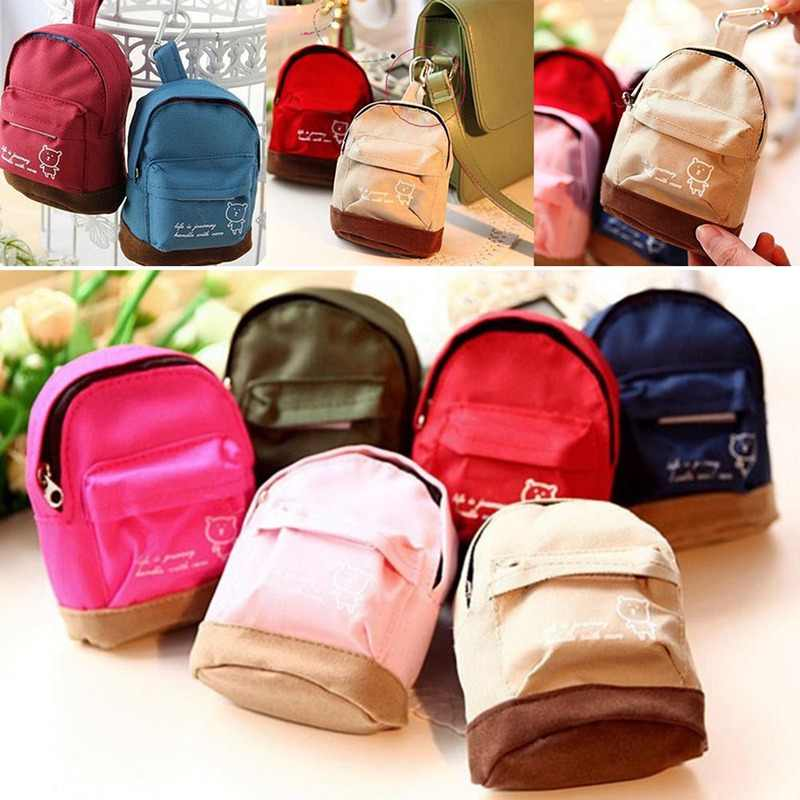 Women Mini Coin Floral Tassels Wallet  School Hangbag Hangable Card Backpack  Bag Keys Case Travel Organizer
