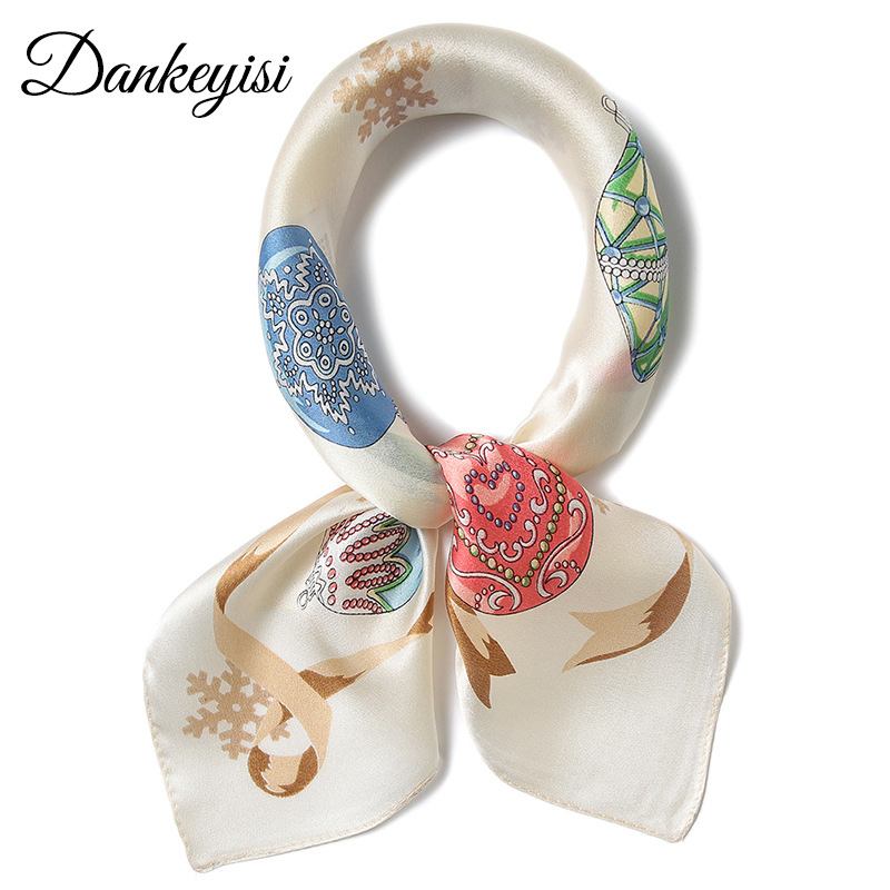 DANKEYISI 100% Silk   Scarf   Women Small Square   Scarf   Pure Silk Vintage   Scarves   Ladies Neck   Scarf     Wraps   Handkerchief 2018