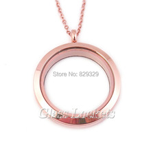 316 Stainless steel anodized rose gold screw floating lockets glass memory locket pendant 30mm 10pcs/lot NPF012