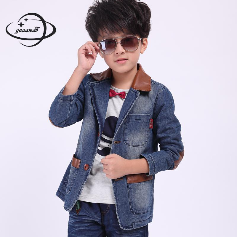 Yauamdb Kids Blazers Spring Autumn 6-16y Boys Suit Jeans Jackets Clothing Patchwork Single Breasted Pocket Children Clothes Ly55 Sufficient Supply