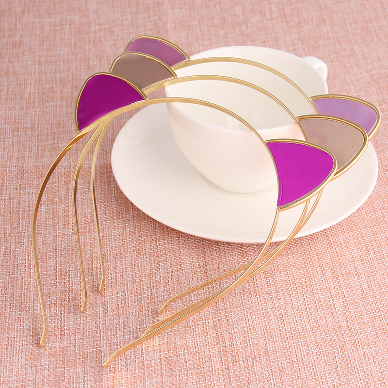 10pcs lot colorful alloy cat ear head band headdress children pu reflective stickers girls hair accessories for women hair band in hair accessories from