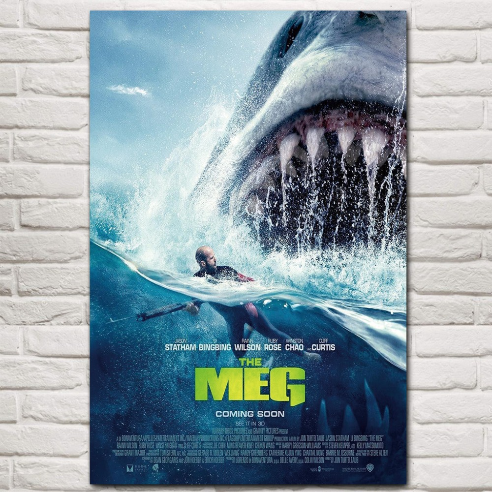 The Meg Hot New 2018 JAWS Shark Horror Movie Jason Statham Film12x18 24x36 inches Silk Poster Canvas Art Print Home Room Decor image