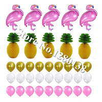Hot Pink Foil Flamingo Balloons Tissue Paper Pineapple Honeycomb Luau Hawaiian Party Summer Beach Photo Backdrop Decorations