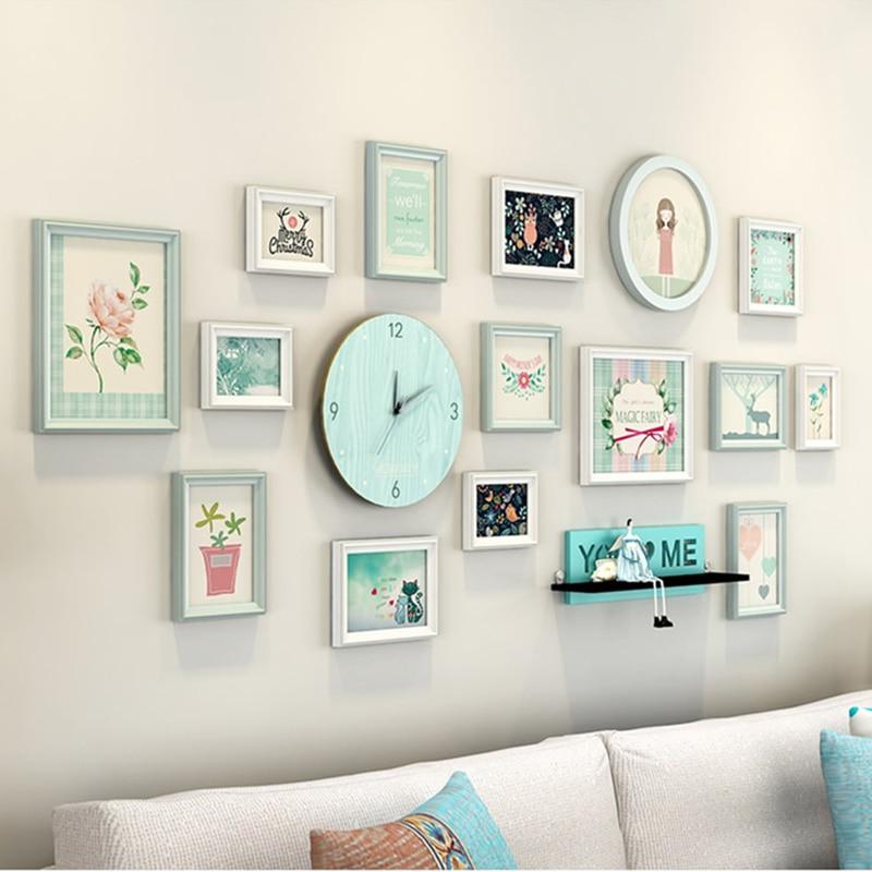 Estilo coreano 15 piezas familia marco de fotos combinación pared ...