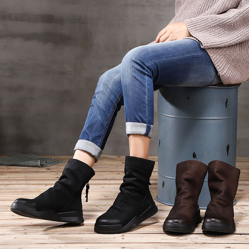 Artdiya Original 2018 Autumn and Winter New Genuine Leather Women Boots Round Toe Velvet Ankle Boots Retro Casual Cotton Boots цены онлайн