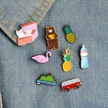 Heißer verkauf pins für kleidung kawaii symbol metall abzeichen mode kleidung abzeichen rucksack pin taste Bus/bär/katze metall brosche un