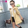 2016 Nueva Ropa de Los Niños Coreanos Niñas Rompevientos Gabardina Ocio Princesa Escuela de Moda Sólido Outwear Envío Gratis