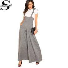Sheinside Self Tie Strap Wide Leg Jumpsuit 2018 Spring Grey Sleeveless High Waist Loose OL Work Jumpsuit Women Elegant Jumpsuit