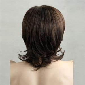 Image 5 - MSIWIGS pelucas sintéticas cortas para hombre, fibra resistente al calor, Color marrón, peluca para hombre recta, con red de pelo gratis