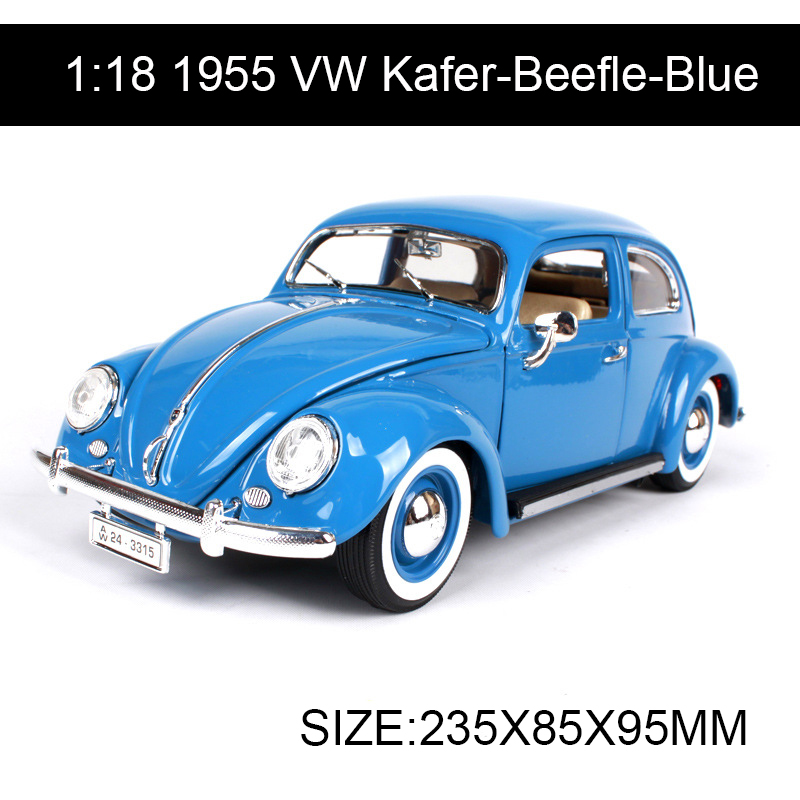 1:18 diecast Car 1955 VW Kafer-Beefle Classic Cars 1:18 Alloy Car Metal Vehicle Collectible Models toys For Gift Collection 1 18 scale maisto classic children 1956 chrysler 300b antique vintage car metal diecast vehicle gift model kids toys collectible