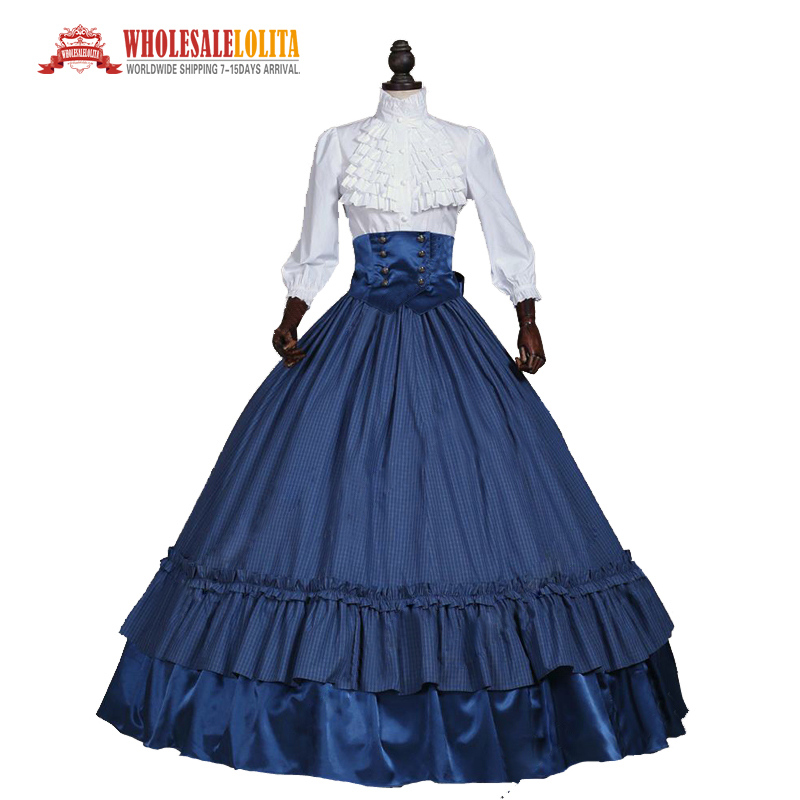 Civil War Victorian 3PC Ball Gown Southern Belle Tartan Dress Women Halloween Costume