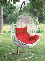Outdoor rattan hammock chairs furniture set with red cushions