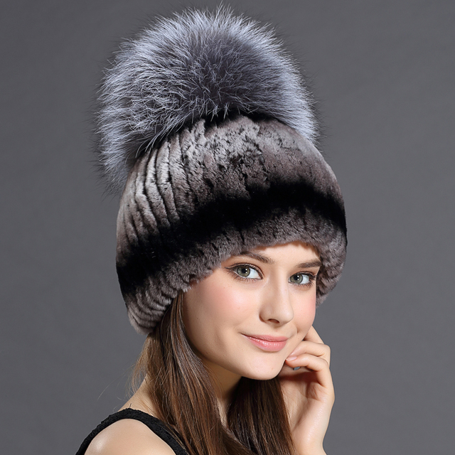 eecf0ff2d99d3 Fur Hat For Female With Luxury Fluffy Ball Russian Hats New Cold Winter  Genuine Rabbit Fur