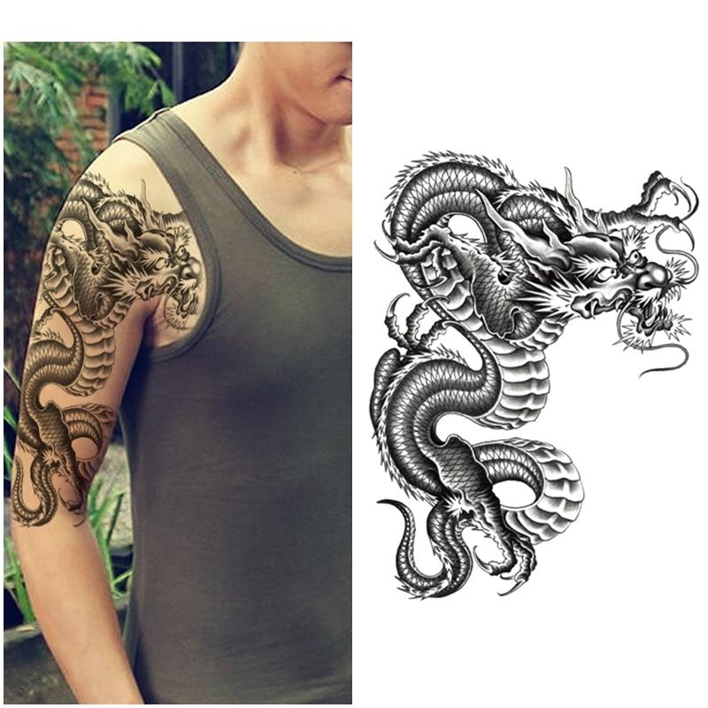 1PCS Cool Large Black Dragon Chest Temporary Dragon Tattoos Arm Fake Tattoo  Stickers Sexy Men Women Spray Waterproof Designs f364de6ea