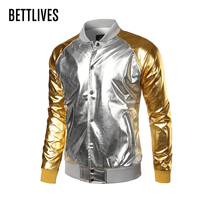 2017 Mode Heren Jasje Nachtclub Metallic Gold Shiny Jas Mannen Veste Homme Button-up Lichtgewicht Varsity Bomberjack BE322