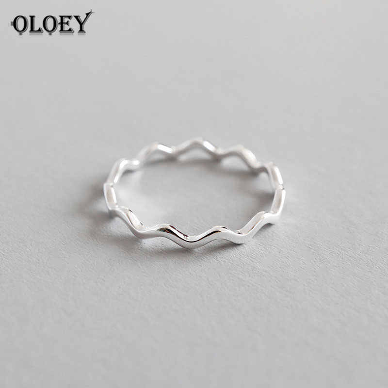 OLOEY Pure 100% 925 Sterling Silver Finger Rings for Girls Ladies Simple Thin Line Curve Wave Wild Smooth Ring Jewelry YMR538