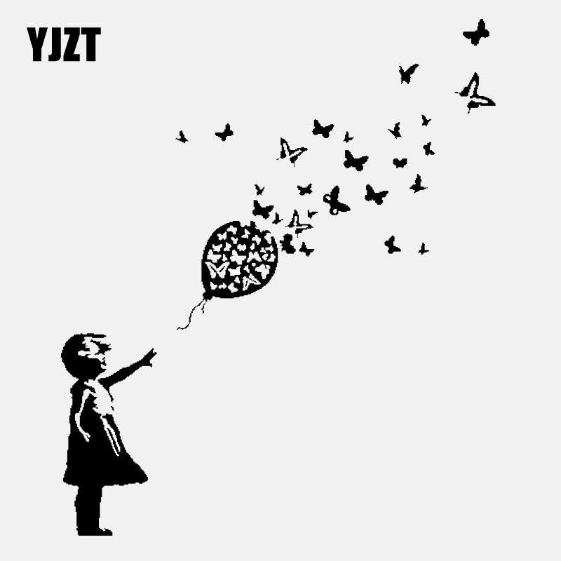 YJZT 13.7CM*16.4CM Banksy Girl Butterfly Balloon Car Window Vinyl Sticker Decal Black/Silver C24-0207