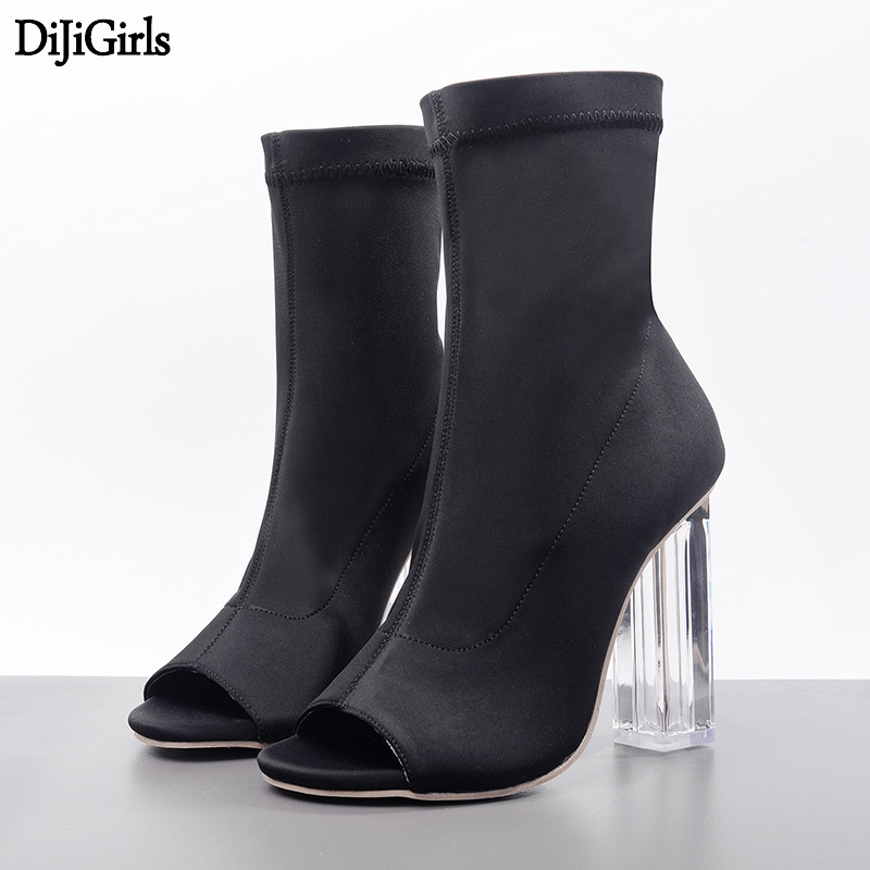 Womens Heels Spring High heels Sandals Black Party Shoes Fashion Transparent Clear Chunky Heels Sexy Women Elastic Ankle Boots wholesale lttl new spring summer high heels shoes stiletto heel flock pointed toe sandals fashion ankle straps women party shoes
