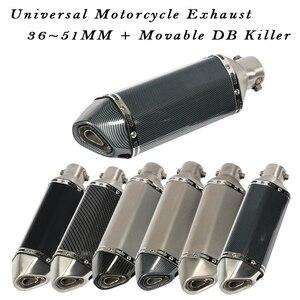 Image 1 - Universal Motorcycle Exhaust Escape Moto Muffler Length 370MM Movable DB Killer 51MM For Z900 FZ6N CBR250 MT07 R6 Dirt Pit Bike