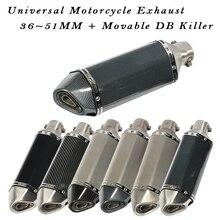 Universal Motorrad Auspuff Flucht Moto Schalldämpfer Länge 370MM Beweglichen DB Mörder 51MM Für Z900 FZ6N CBR250 MT07 R6 schmutz Pit Bike